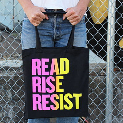 Read Rise Resist Pink Yellow Tote