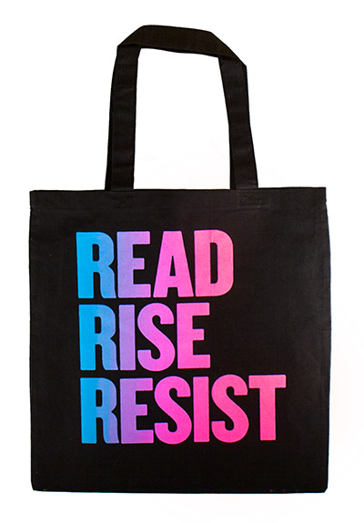 Read Rise Resist Blue Pink Tote