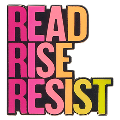 Read Rise Resist Pink Yellow Enamel Pin