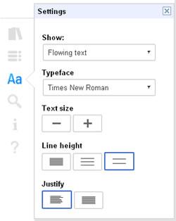 Google eBooks settings