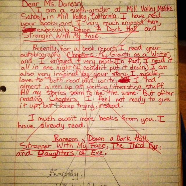 Lois Duncan letter