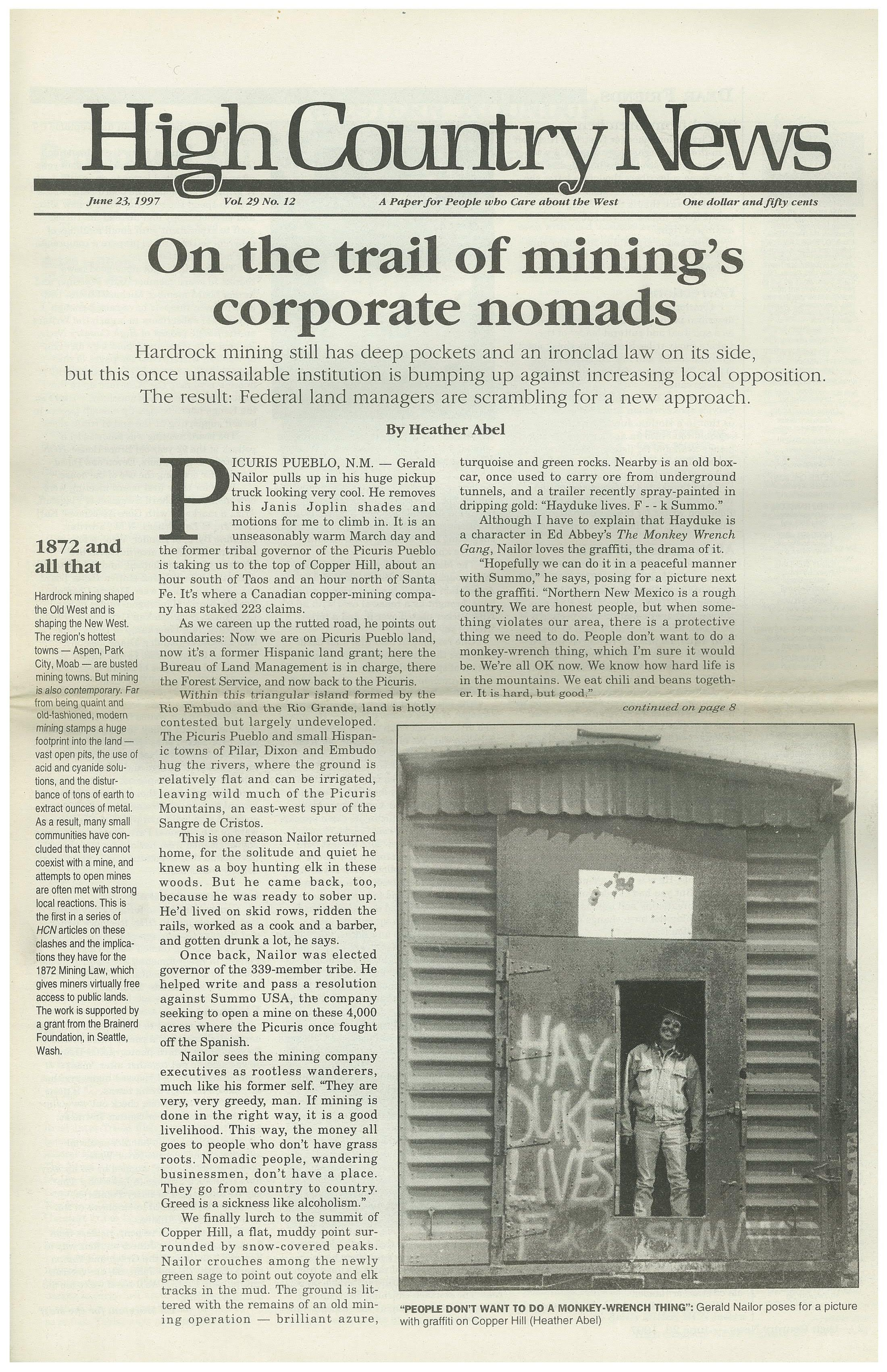 An issue of High Country News with a story I wrote about miners.