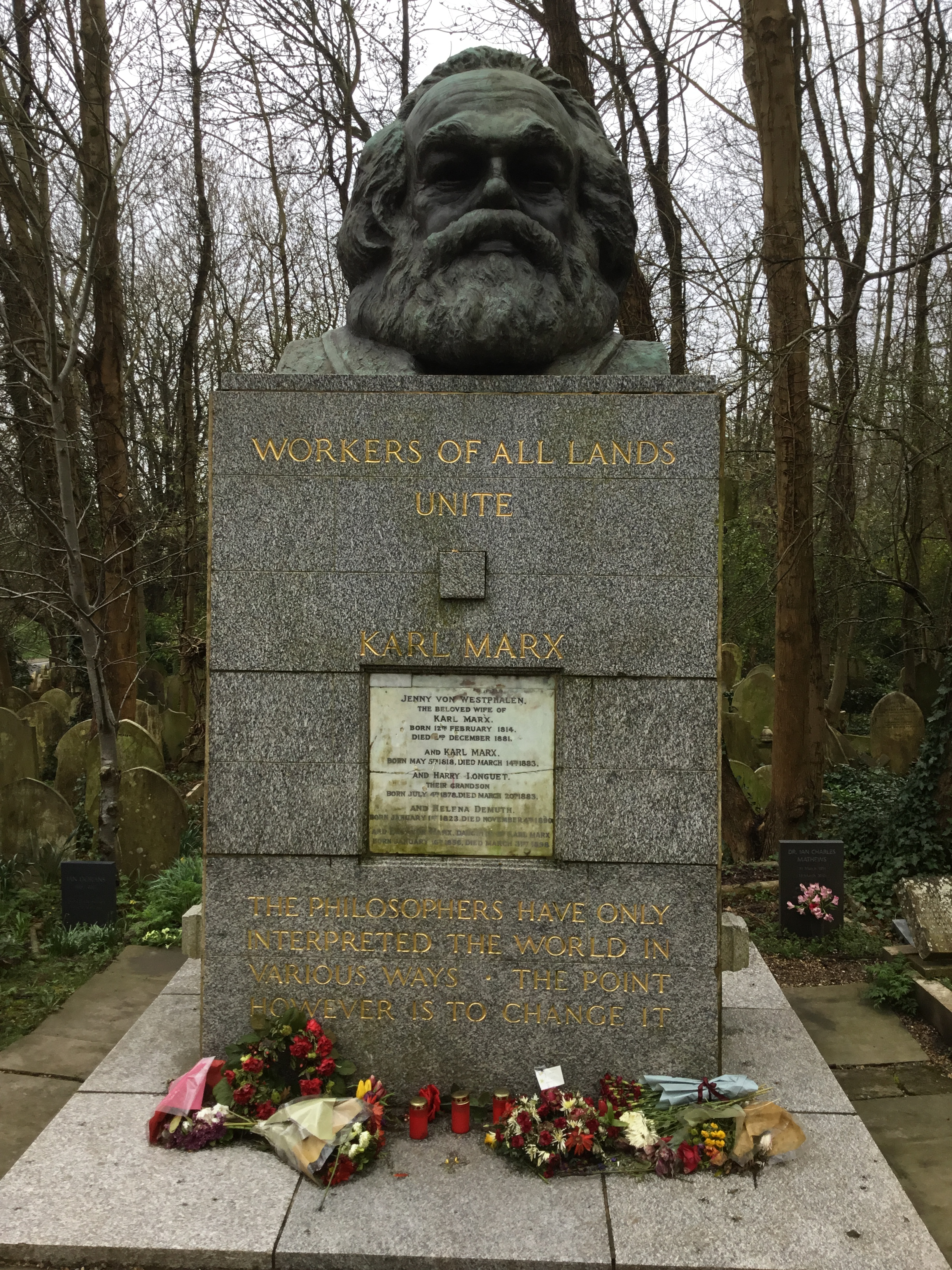 A photo of Marx's grave. Since my father is in London right now, I asked him to return to Highgate Cemetery and take this photo. It's by him: Rick Abel.
