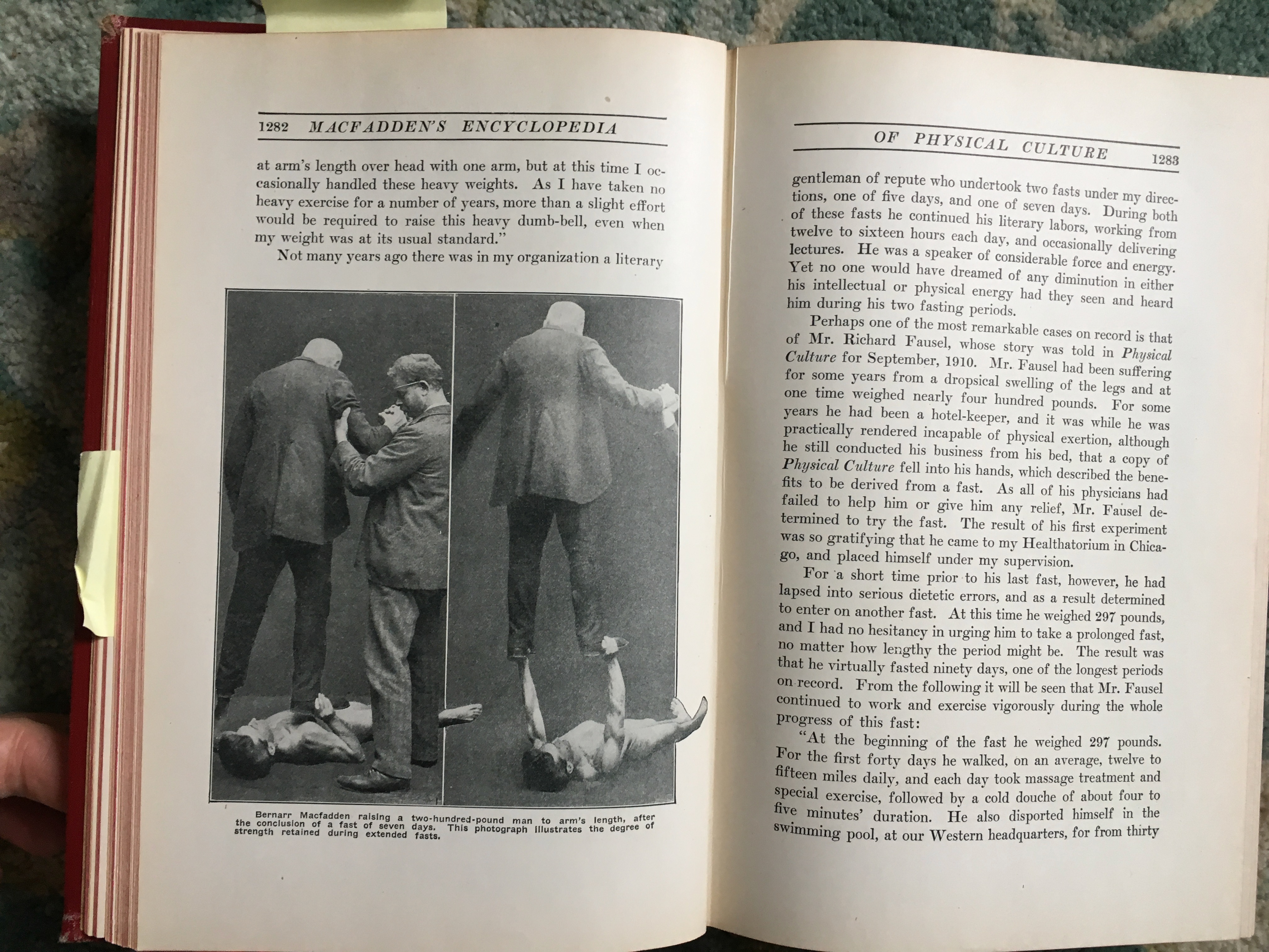 From the 1920 edition, in which MacFadden lifts a large man after fasting for a week.