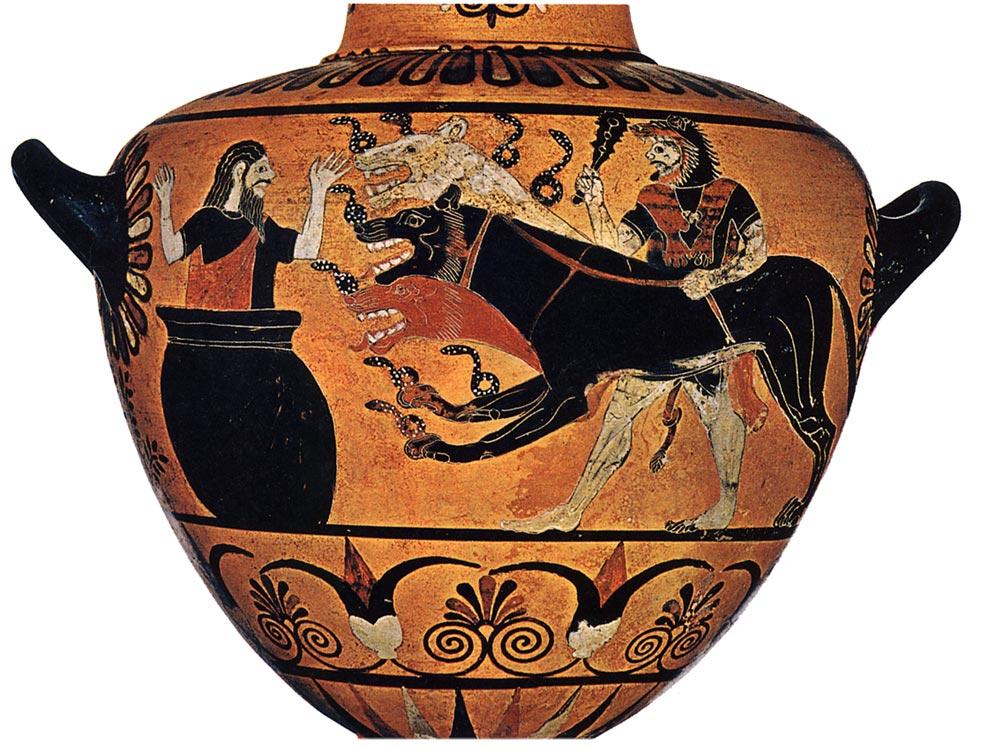 Heracles bringing Cerberus to Eurystheus.