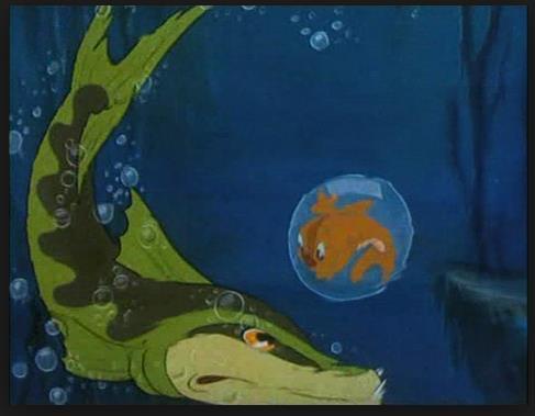 A cartoon eel and goldfish.