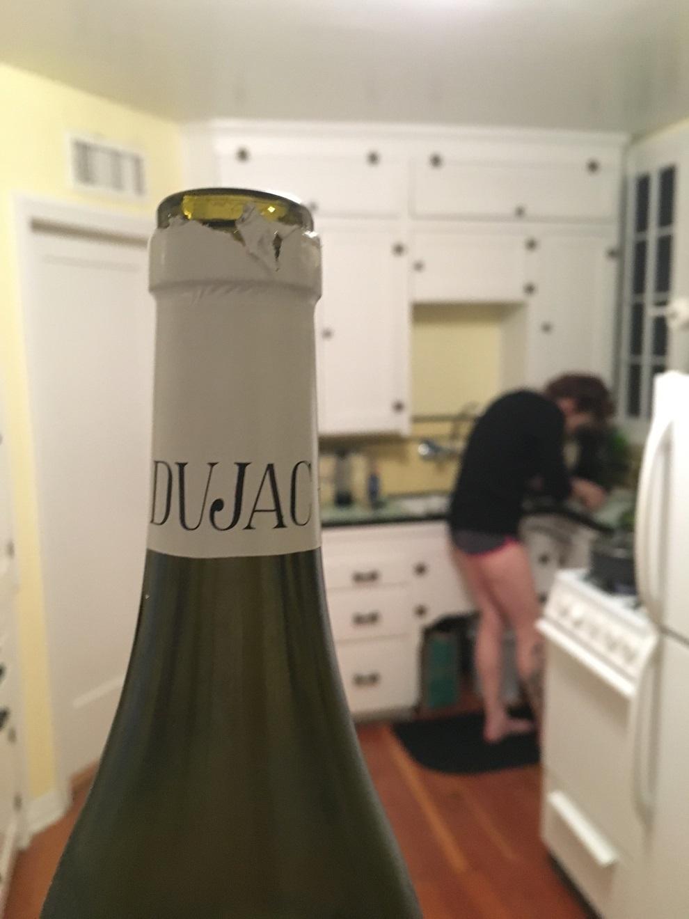 A wine bottle.
