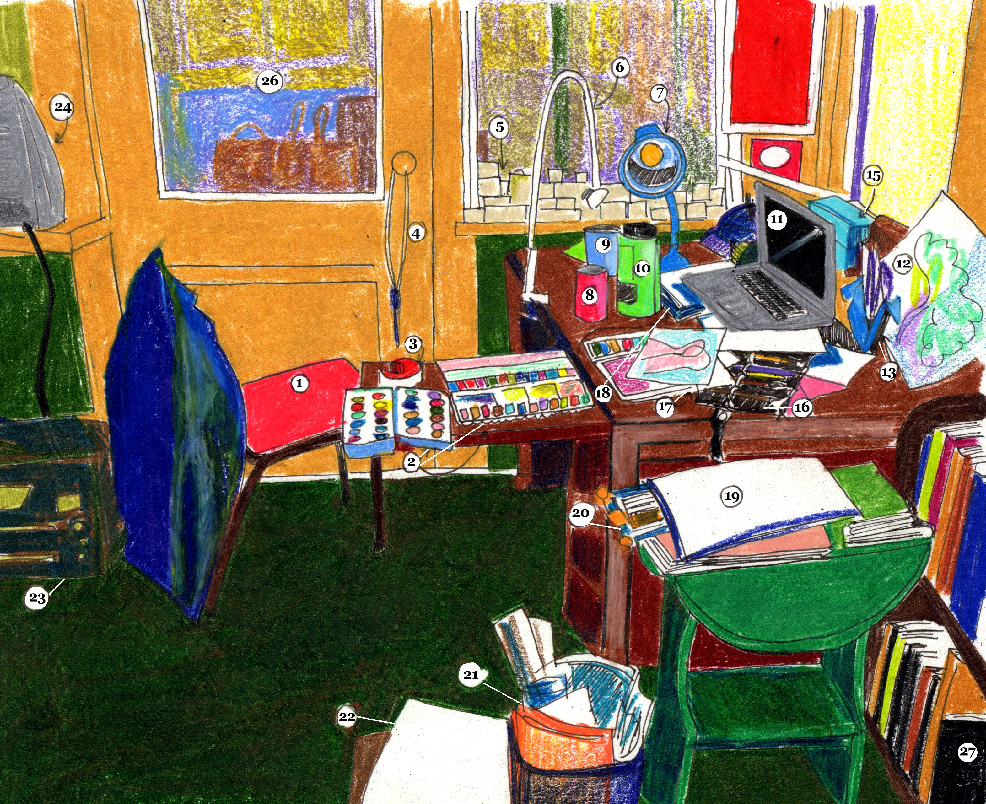 An illustration of Sophie Lucido Johnson's workspace with numerical labels.