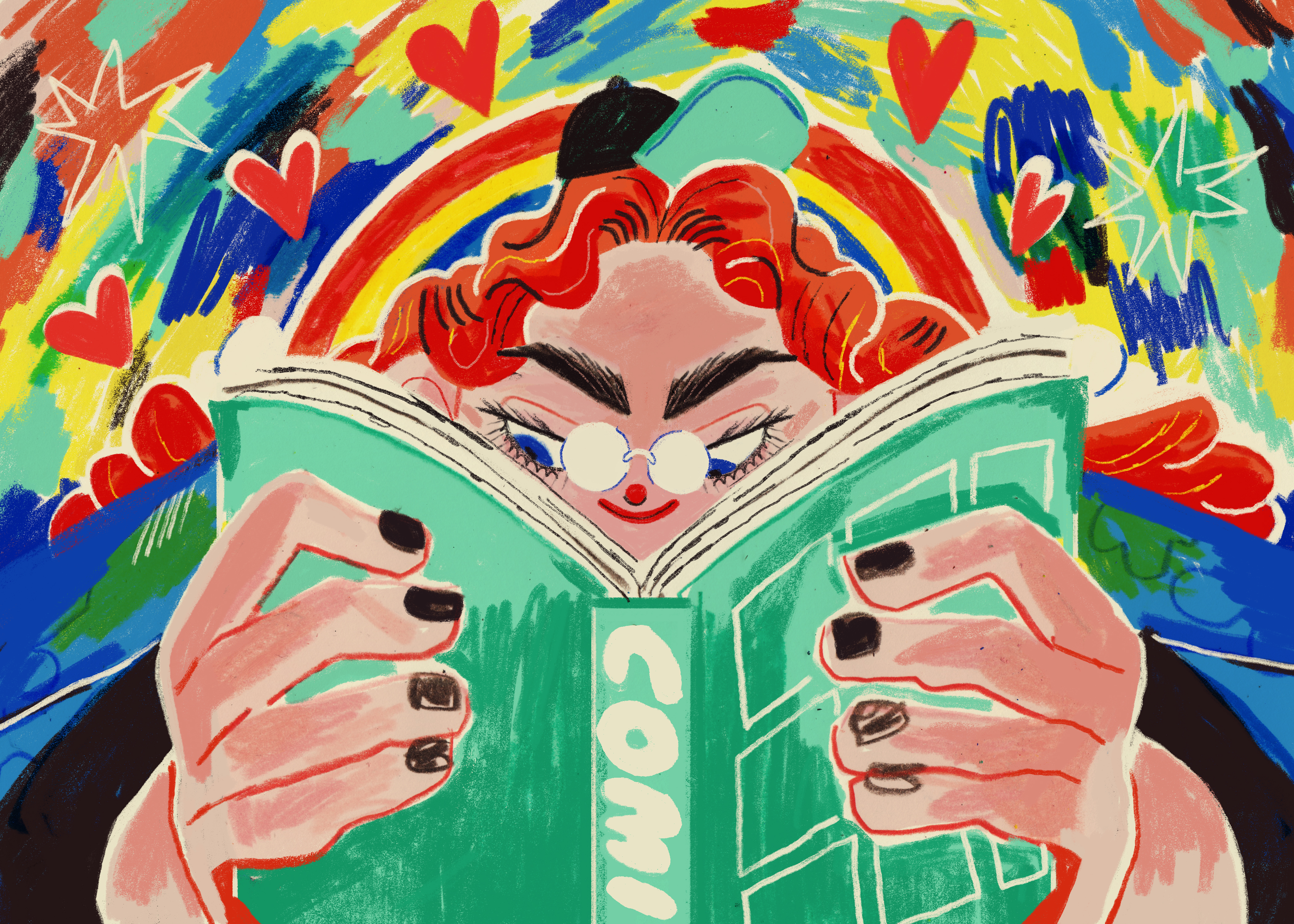 Kelsey Wroten illustration. A woman reads a book.
