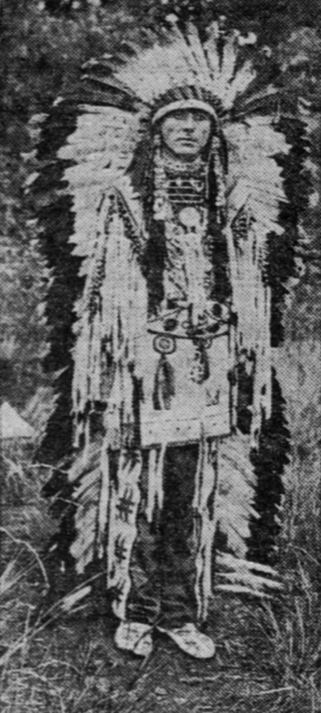 Edgar Laplante posing as Chief White Elk, c.1918.