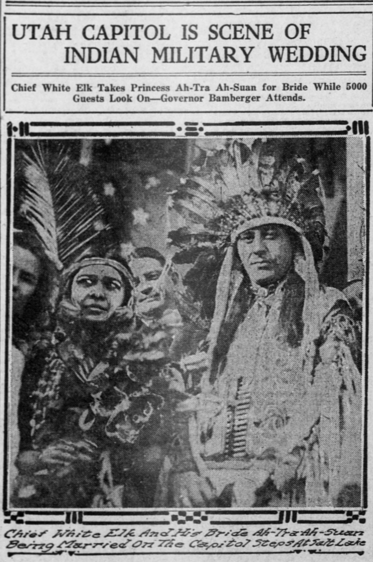 Newspaper story about Chief White Elk's first marriage, March 1918.