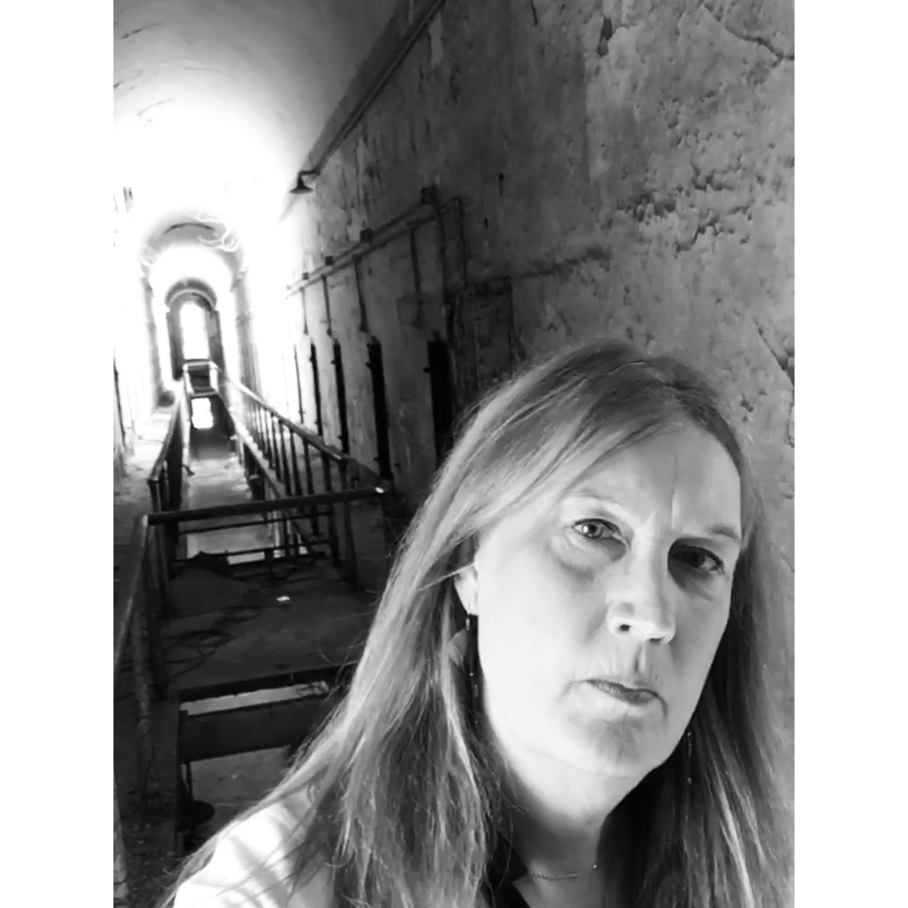 Jenny Boylan at the ruins of Eastern State Penitentiary, 2017.