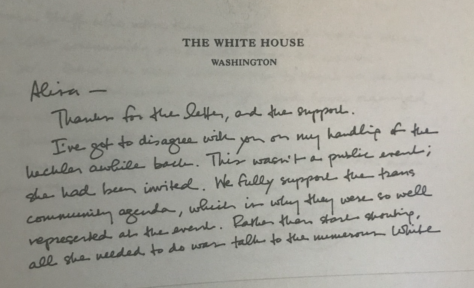 Page one of Obama's letter.