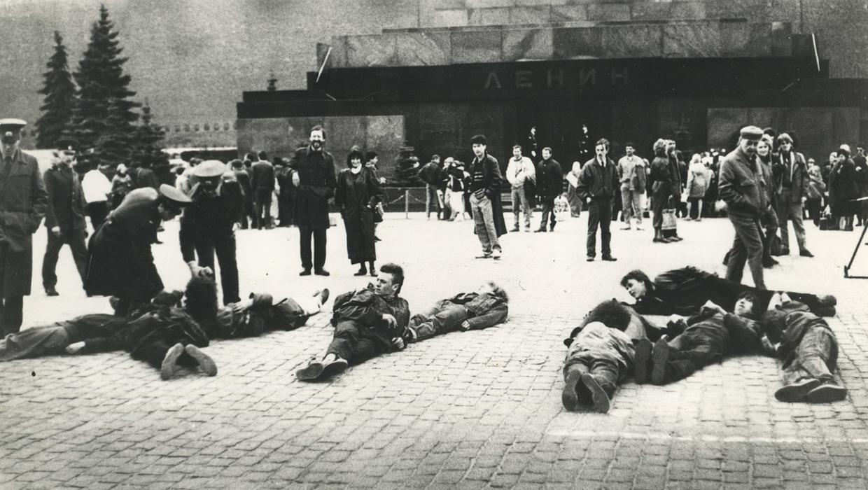 Activists lying on the Red Square.