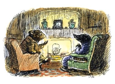 Small illustration of two animals in front of a fire from 'The Wind in the Willows'.