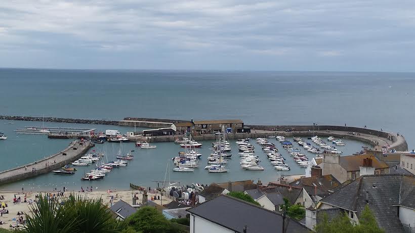A harbor in Lyme Regis, Dorset.