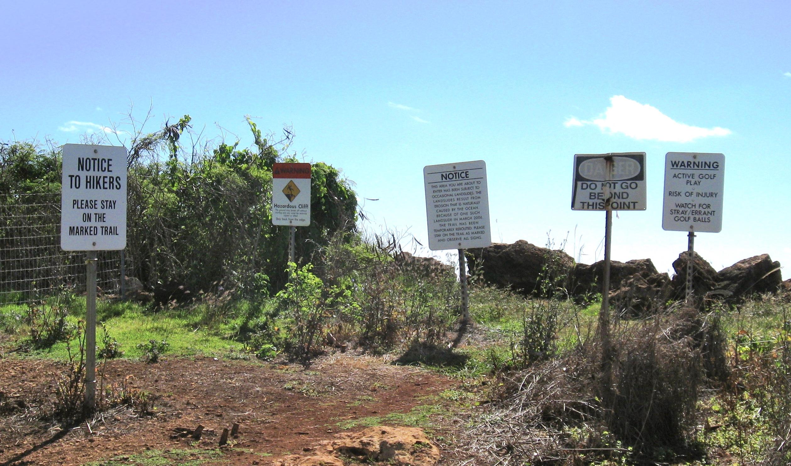 Warning signs in Hawaii.
