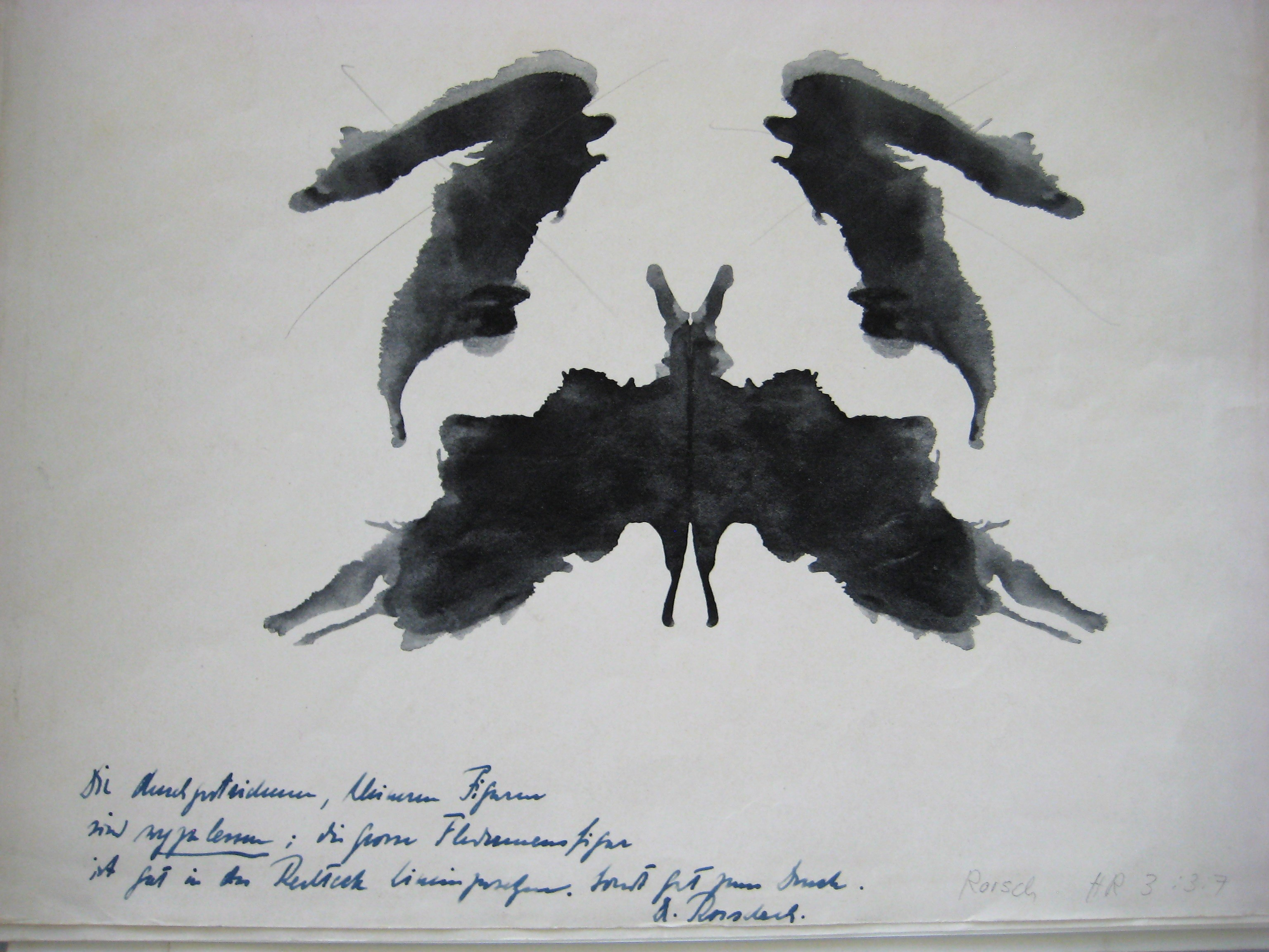 A Rorschach blot with publisher notes.