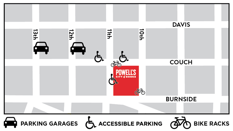 Map representing locations of parking garages, accessible parking and bike racks. Parking Garages can be found near the corners of NW Couch and 12th, NW Couch and 13th. Accessible parking spots can be found on NW Couch st between 10th and 12th and also on 11th between NW Couch and W Burnside. Bike racks can be found near the corner of NW Couch and 11th, or West Burnside and 10th.