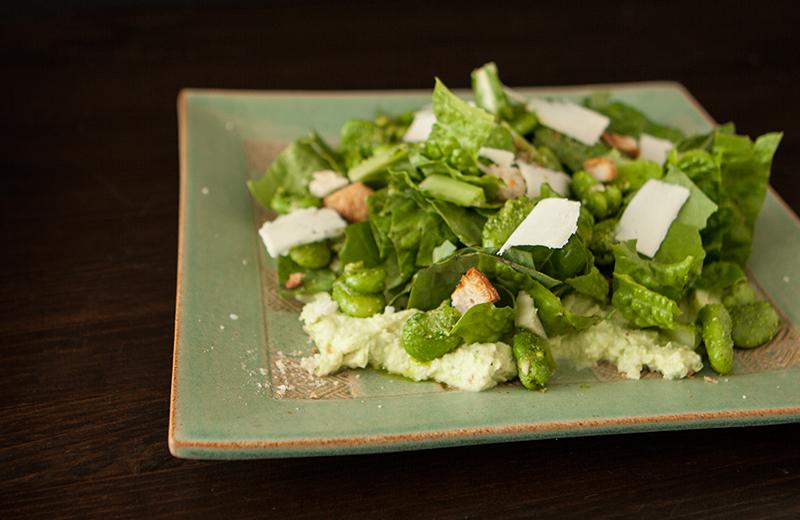 Fava Bean and Gem Lettuce Salad